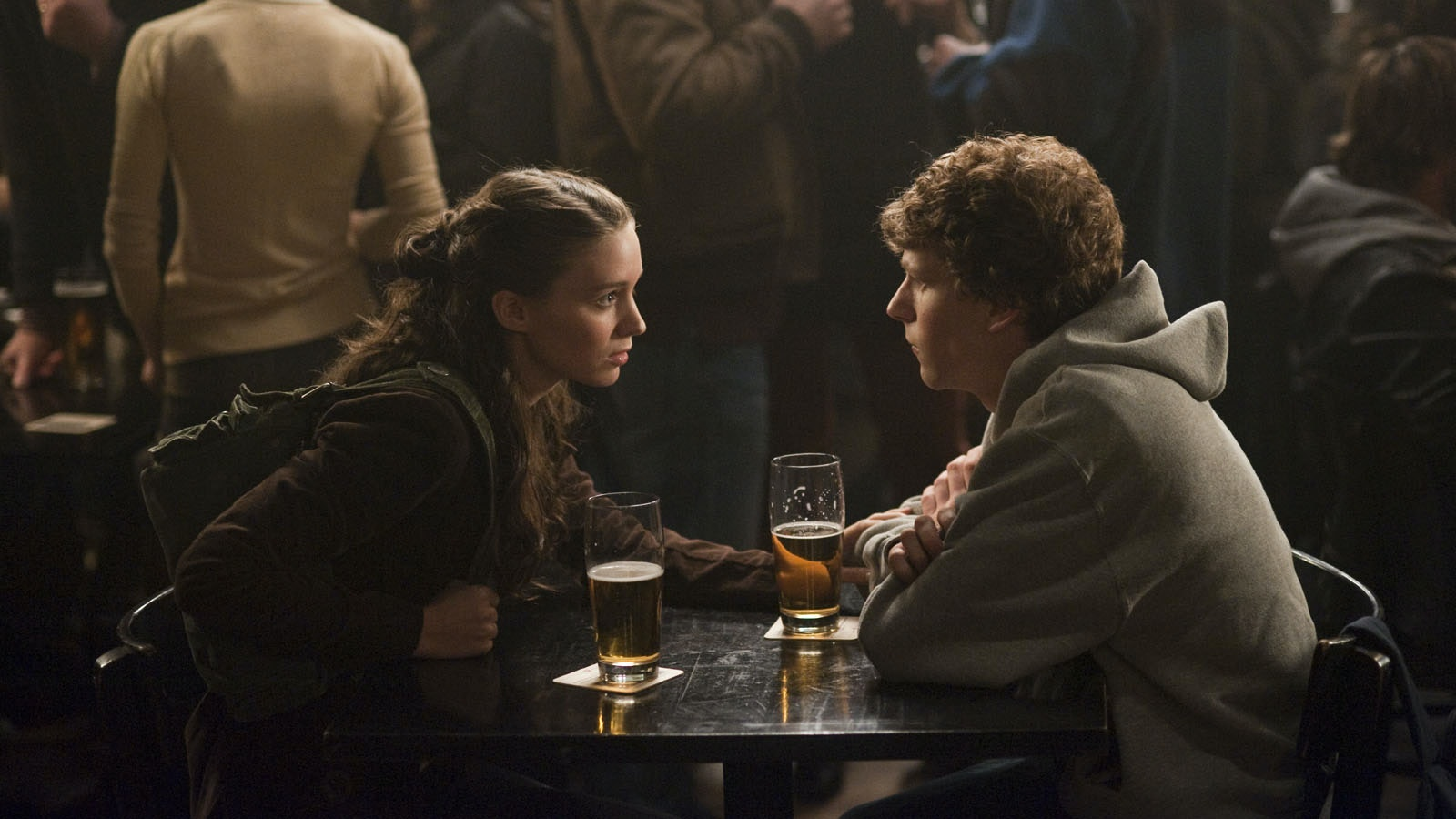 """Rooney Mara, left, and Jesse Eisenberg in Columbia Pictures' """"The Social Network."""""""